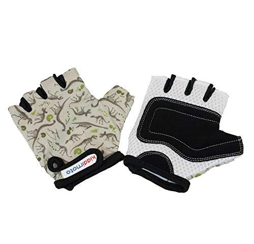 KIDDIMOTO Kinder Fahrradhandschuhe Fingerlose für Jungen und Mädchen/Fahrrad Handschuhe/Bike Kinder Handschuhe - Dino Fossil - M (4-8y)