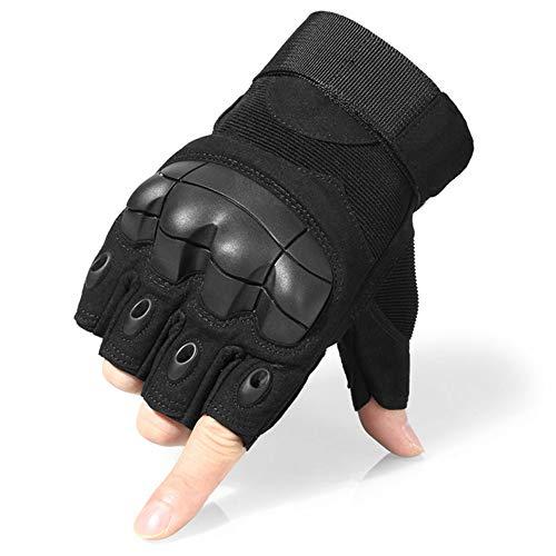COZONE Guantes de moto con protección de palma y agarre extra, protección de nudillos de medio dedo para levantamiento de pesas / entrenamiento de ajuste cruzado / ciclismo / motocicleta/ gimnasio