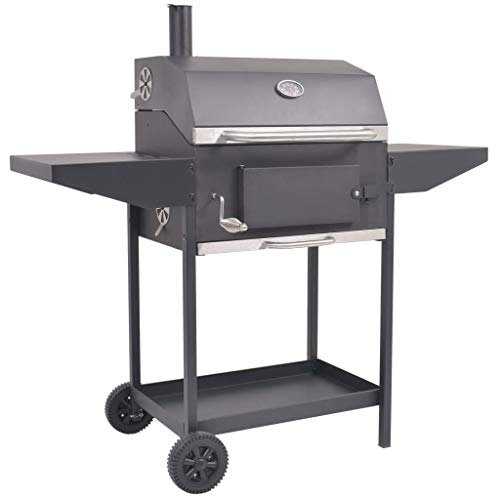 vidaXL BBQ Charcoal Smoker with Bottom Shelf Black Outdoor Grill Barbecue
