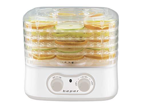 Beper - Secadora de Alimentos para Frutas, Verduras y Hierbas Aromáticas, 5 Bandejas Transparentes, 35°C - 70°C, 250 W, Blanco