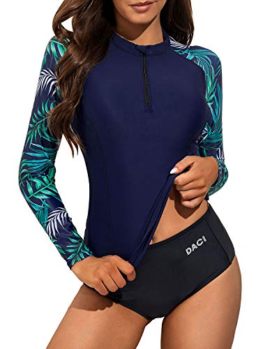Daci Women Blue1 Rash Guard Long Sleeve Bathing Suit with Built in Bra Swimsuit UPF 50 L