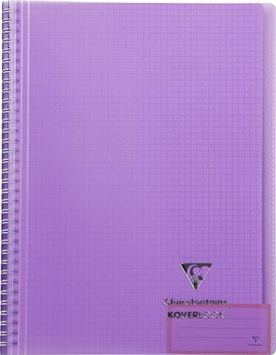 Clairefontaine 376601C Collegeblock Koverbook mit Spiralbindung (kariert, 80 Blatt, DIN A4+) 1 Stück farbig sortiert