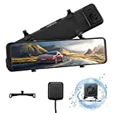 4K Mirror Dash Cam for Cars with Voice Control, 12' IPS Full Touch Screen, GPS Tracking Rear View Mirror Camera Dash Cam Mirror Backup Rear View Camera, Loop Recording, Night Vision, Parking Monitor