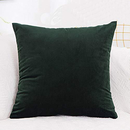 ouyalis Cushion Covers Velvet Cushion Cover Solid Color Home Decor Sofa Throw Pillow Cover-Dark Green