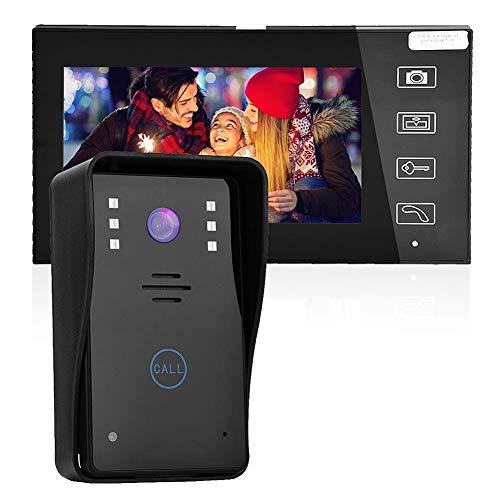 Videocitofono 7 pollici Clear LCD Monitor citofono campanello visivo senza fili, videocamera per visione notturna, 12 diversi stili musicali per il miglioramento domestico(EU)
