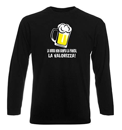 T-Shirt Manica Lunga Uomo Nera T0990 la Birra Non gonfia la Pancia la valorizza Bevande Sballo