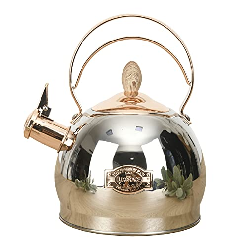 Teapot for Stove Top 2.6 Quart Whistling Tea Kettle-Surgical Stainless Steel Teakettle Teapot with Cool Toch Ergonomic Handle(Gold)