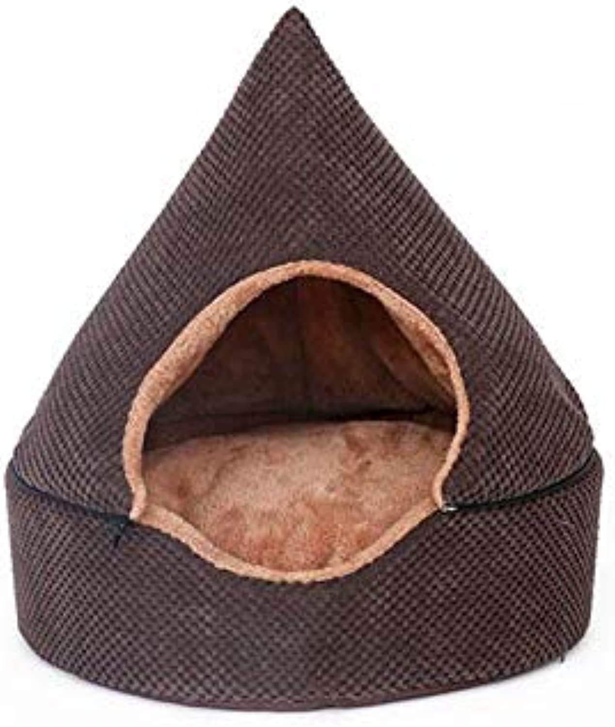 Dog Kennel Removable And Washable Yurt Cat Litter Winter Warm Puppies Pet Small Dog House Dog House (color   BROWN, Size   SA)