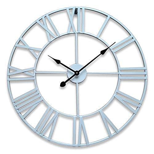 Reloj de Pared para jardín al Aire Libre, 23 Pulgadas, números Romanos Blancos Grandes, Reloj de jardín, Hierro Forjado, Impermeable, Reloj para Exteriores, decoración para Interiores y exte