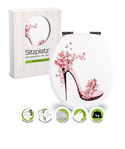 SITZPLATZ® WC-Sitz mit Absenkautomatik, buntes Dekor High Heel, Toilettensitz mit Holz-Kern & Schnellbefestigung, Standard O Form, Metallscharniere, Toilettendeckel rosa Schuh, floral, 40274 3