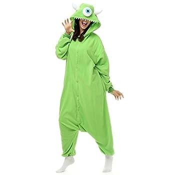 Adult Mike Wazowski Onesie Polar Fleece Pajamas Cartoon Sleepwear Animal Halloween Cosplay Costume Unisex  L  Height 5 6-5 10   Green