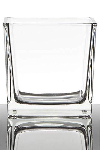 INNA-Glas Tiesto de Cristal Kim, Cubos/Cuadrado, Transparente, 12x12x12cm - Macetero - Maceta