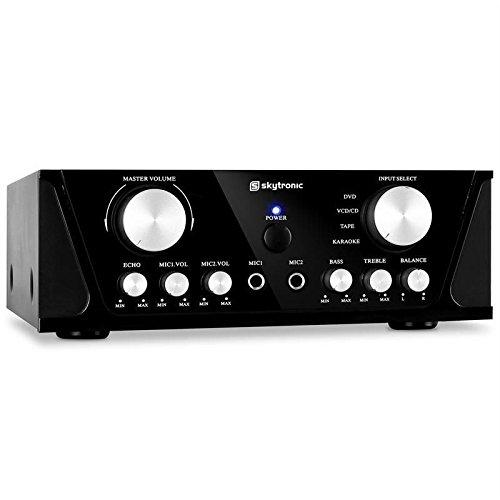 Amplificador Hi-Fi Stereo Home Cinema Karaoke 2 x 50 W RMS 2 x 100 W MAX 2 entradas RCA + 2 micrófonos