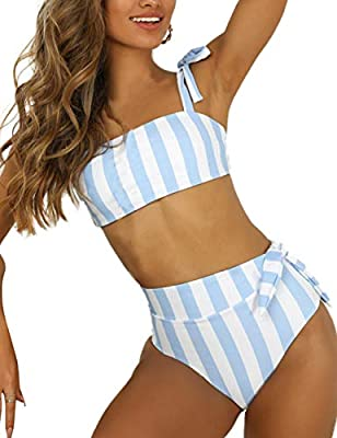 Blooming Jelly Womens High Waisted Bikini Set Tie Knot Bathing Suit Striped Hi Rise Two Piece Swimsuits (L, Blue & White Striped)
