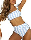 Blooming Jelly Womens High Waisted Bikini Set Tie Knot Bathing Suit Striped Hi Rise Two Piece Swimsuits (Medium, Blue & White Striped)