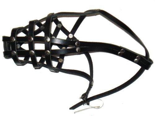 Maulkorb aus echtem Leder, Dobermann Größe 2, schwarz