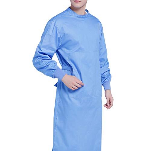 NONE Bata Quirúrgica de Algodón Bata de Aislamiento Médico Lavable Batas de Protección Ropa de Trabajo Hospitalaria para Médicos Suministros Médicos de Enfermería (Azul S)