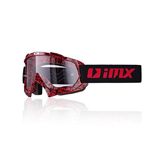 iMX - Lente trasparente | Cinturino con stampa in silicone | Schiuma a tre strati | Una lente inclusa | Motocross Enduro Mtb Downhill Freeride, one size, red/black