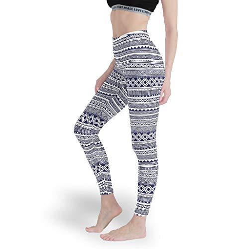 Rinvyintte Muster Ethnisches Muster Grafik Mädchen Ganzkörperansicht Leggings Workout Yoga Hosen Capris Tights für SportMuster White l