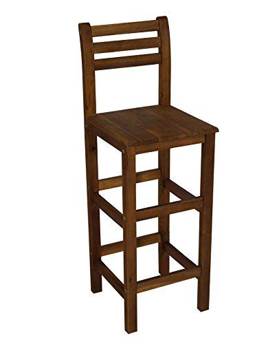 DEGAMO Barstuhl aus Akazienholz geölt, Sitzhöhe 77cm, für Innen und Außen, FSC®-Zertifiziert