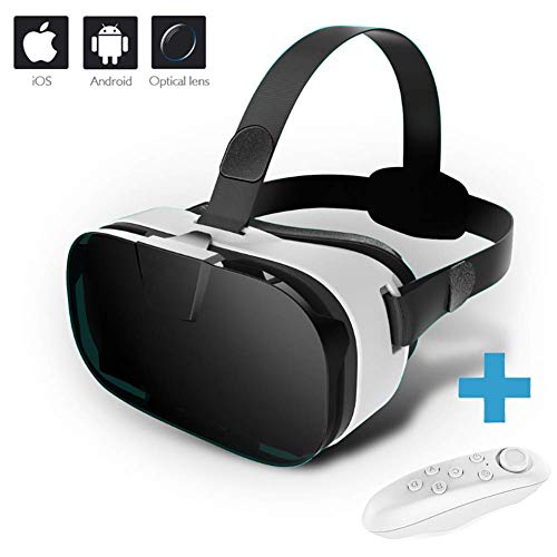 HUA JIE Virtual Reality Headset,VR Headset 3D VR Goggles for Movies Video Games Fast Cooling Compatible with 4.0-6.5 Inch Screen with Remote Control Best Gift