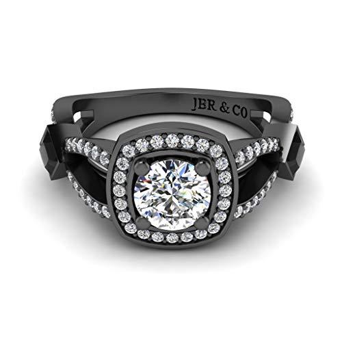 Jbr - Anillo de boda de plata de ley con halo de corte redondo, anillo de compromiso de aniversario para ella