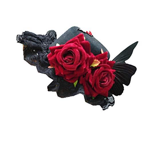 Lolita Retro Mini Hut Steampunk viktorianische Rose Spitze Schmetterling Hochzeit Party Top Hut Tanzen Cocktail Kopf Clip - rosa - Medium