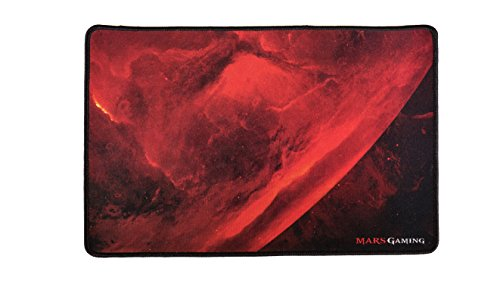 Mars Gaming MRMP0, Alfombrilla Gaming, Base Caucho,Borde Reforzado, 35x25cm, Rojo