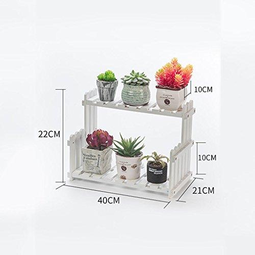 William 337 Porte-pot à fleurs, étagères à fleurs multicouches Étagères à étagères en bois massif Étagère à étages ( Couleur : Blanc , taille : 40*21*22CM )