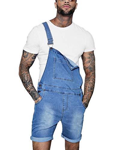 GUOCU Pantalones Cortos de Vaquero para Hombre Monos Peto Mezclilla Desgastados Slim Fit Roll Up Casual Trabajo Jumpsuit Azul Claro M