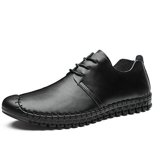 Zapatos de barco casuales y cómodos Antideslizante Penny conducción de los hombres del holgazán for el cuero genuino del primer Casual Zapatos de costura en barco Captoe Oxford con cordones Mocasines