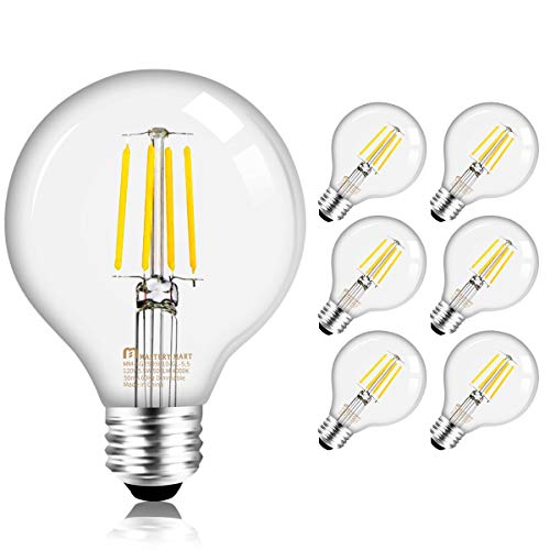 Mastery Mart Dimmable Vintage LED Globe Light Bulb, G25 Glass Edison Style, 5.5W (75 Watt Equivalent), 4000K Cool White, E26 Decorative Filament Bulb, Bathroom& Vanity Mirror, UL, Energy Star, 6 Pack