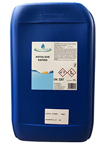 Antialghe Rapido Liquido Multifunzione Concentrato per Piscina Alghicida Flocculante Schiarente (25Kg)