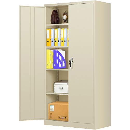 """Steel SnapIt Storage Cabinet 72"""" Locking Metal Storage Cabinet with 4 Adjustable Shelves,Lockable Welded Metal Cabinet with 2 Doors and Lock for Office, Garage, Home (Putty)"""