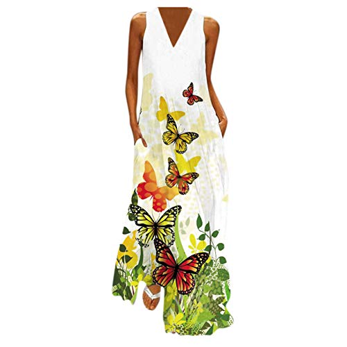 Dress for Women Butterfly Casual Sleeveless Pockets Summer Long Maxi Dress Fashion V Neck Loose Boho Beach Sundress