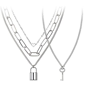 BVROSKI Chains Necklace for Eboy Egirl Men Male Emo Goth Women Teen Girls Boys,2 Layered Lock Key Pendants Necklaces Set Jewelry Pack for Pants Punk Play