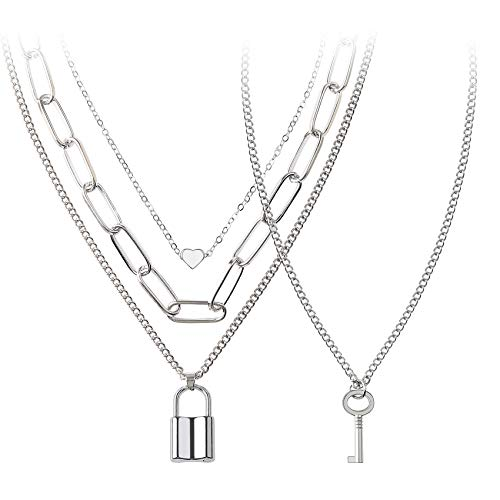 BVROSKI Chains Necklace for Eboy Egirl Men Male Emo Goth Women Teen Girls Boys,2 Layered Lock Key Pendants Necklaces Set, Jewelry Pack for Pants Punk Play