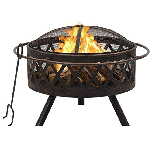 vidaXL Rustic Fire Pit with Poker Fire Bowl Patio Heater Fireplace Home Outdoor Garden Furnace Decoration with Mesh Cover 76 cm XXL Steel