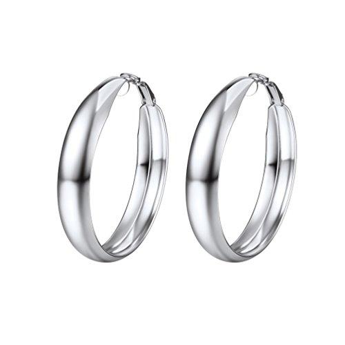 PROSTEEL Huggie Hoop Ohrringe Creolen für Damen Mädchen 40 mm Glänzend Blatt Fashion Groß Kreis Ohrringe Edelstahl silberfarben