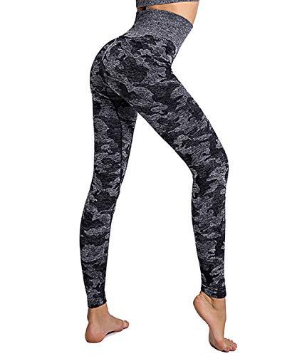 Yaavii Yogahose, lang, Sport-Leggings, hohe Taille, nahtlos, für Damen Gr. 40-42, Schwarz - 2