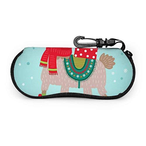Estuche para gafas con dibujos animados de Navidad, animales, perros, niños, para gafas de sol, ligero, portátil, con cremallera de neopreno, estuche para gafas para niño