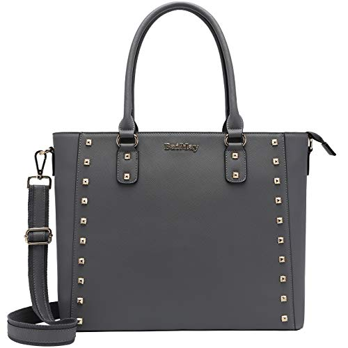 Laptop-Bag-for-Women,15.6 In Laptop-Totes Work-Bags Business Briefcase Stylish Laptop-Purse with Charm Stud for Business Office School Travel,gray