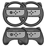 Steering Wheel Controller for Nintendo Switch Joy Con - Racing Games Accessories Nintendo Joy Con Controller Hand Grip for Mario Kart Parties, Black