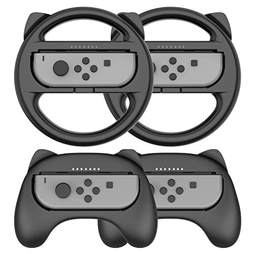 Steering Wheel Controller for Nintendo Switch Joy Con - Racing Games Accessories Nintendo Joy Con Controller Hand Grip for Mario Kart Parties, Black