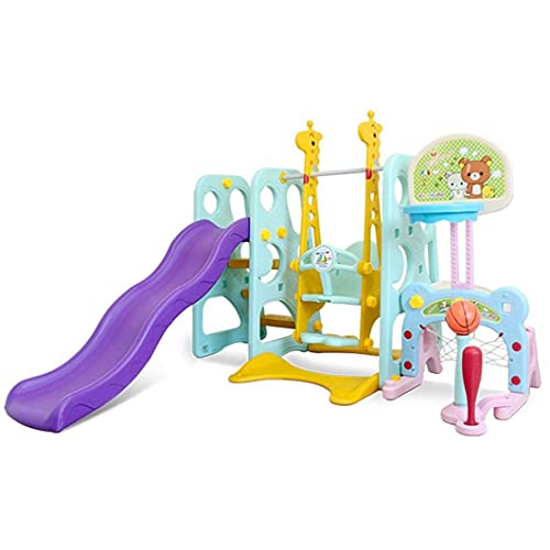 6 in 1 Kids Slide Swing Play Set, Toddler Slide Climber and Swing Playset with Basketball Football Baseball/Indoor & Outdoor Combination, Children Activity Center