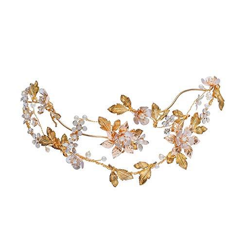 Tiara barroca de hojas doradas para mujer, corona de perlas y cristales de ópalo, accesorio para la cabeza de novia