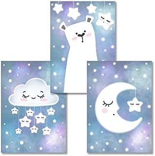 Rabano Art® set de 3 affiches décoratifs pour chambre d'enfant ou bébé - animaux, lune, étoile - fille ou garcon - murales...
