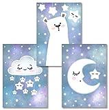 Rabano Art® Kinderbilder 3er Set - Bär Mond Wolke Sterne