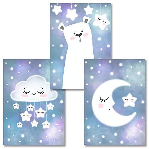 Rabano Art® Kinderbilder 3er Set - Bär Mond Wolke Sterne - Kinderzimmer Deko Bilder Poster DinA4 - Wandbilder Babyzimmer - mit Geschenkumschlag