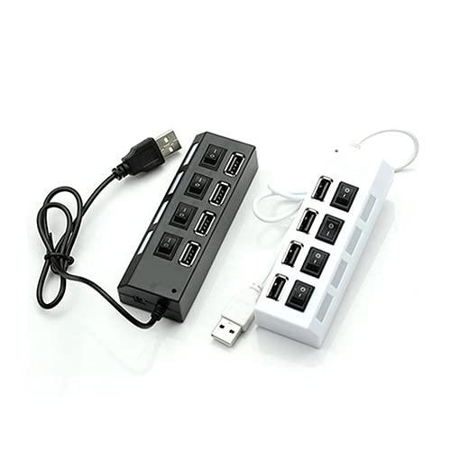 Profusion Cicle Puerto De Datos De 1 Puerto A 4 Puertos Hub USB 2.0 De Alta Velocidad Interruptor De Encendido Y Apagado Luz Indicadora Portátil Adaptador De Divisor De Datos Negro